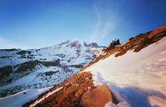 cold days, warm light (manyfires) Tags: winter sunset snow cold film analog outdoors golden washington nationalpark hiking hike pinhole trail pacificnorthwest mtrainier pnw magichour skylinetrail mtrainiernationalpark panoramapoint innova6x9pinhole