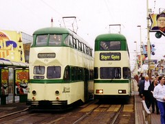 Trams 707 and 712 in 1998 (laverock21) Tags: balloon tram millennium 707 blackpool 712