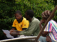 Discussing building techniques with the team, Gone Rural BoMake, March 2015