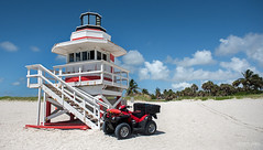 Miami South beach, Florida (Abhi_arch2001) Tags: miami south beach florida usa united states america sun sunshine sand coast baywatch watch dune buggy quad bike tower lifeguard safety noon afternoon clear fun summer vacation hot warm red white kiosk booth