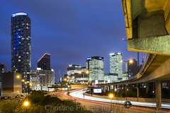 London last night (Christine's Phillips (Christine's observations)) Tags: london canary warf bridge arch leadinlines lightstreams lighttrails trails skyscaper tall curve horizontal business finance model light night nopeople explore christinephillips eastlondon