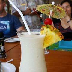 After a hard morning of training at the Leaders Retreat, it's lunch with pina colada time!