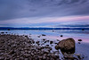 A Rock Anchors the Foreground (Roshine Photography) Tags: slowshutter eveninglight comox pointhomes salishsea environmental reflection sunset winter landscape cooltones calmwater lowtide rocks britishcolumbia canada ca