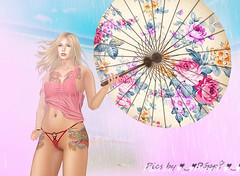 Girl with the Dragon Tattoos (Poppys_Second_Life) Tags: popi popikone popikonesadventuresin2l popisadventuresin2l 2l secondlife virtualphotography poppy picsbyⓟⓞⓟⓟⓨ sl dragontattoo girlwiththedragontattoo parasol portrait portraiture wettshirt