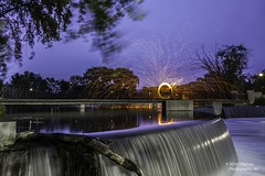 Fire on the falls (Tony Lau Photographic Art) Tags: light wool water night painting illinois oak long exposure steel lawn bridges tony il photoraphy worth lau 2014 canon1022mm calumetriver canoneos7d calumetsag