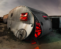 Coming Apart at the Seams (dejavue.us) Tags: california longexposure nightphotography lightpainting abandoned car nikon fullmoon fisheye junkyard trailer nikkor d800 vle