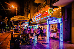 Glasskungen (Melissa Maples) Tags: summer caf night turkey dark gold lights nikon asia purple trkiye tracks antalya bakery nikkor gelateria tramway vr afs  18200mm  f3556g kaleii  18200mmf3556g d5100 glasskungen