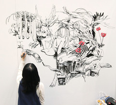 Amazing Black and White Live Painting (Design Festa) Tags: anime art girl beautiful japan illustration japanese tokyo amazing artwork colorful paint artist drawing manga adorable illustrator japanesegirl tokyobigsight livepainting japanesewoman