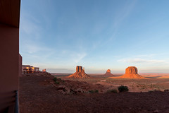 The View at dusk in Monument Valley, Arizona (MikePScott) Tags: camera arizona usa buildings lens hotel rocks butte unitedstates valley accommodation monumentvalley theview topography builtenvironment nikond600 nikon1424mmf28 oljatomonumentvalley featureslandmarks