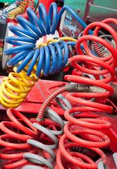 steam fair truck detail 02 jul 14 (Shaun the grime lover) Tags: blue red color colour detail yellow truck warrington cheshire pneumatic air fair steam hose curly vehicle daresbury