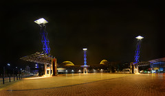 Three Musketeers (John_de_Souza) Tags: blue panorama architecture night landscape lights still cool cityscape stadium sydney sigma stark olympicpark homebush solid 1835 sydneyolympicpark threemusketeers sigma1835 olympicboulevard anzstadium nikond7000 johndesouza solarlighttowers