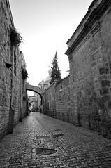 An empty street (Marcin Szwajkajzer) Tags: street white black stone architecture israel palestine jerusalem oldtown