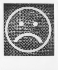 Sad. (Ashley R. Good) Tags: happy sad modernart smiley oxford emoticon barbarakruger instantphotography frowny instantfilm modernartoxford impossibleproject instantlab