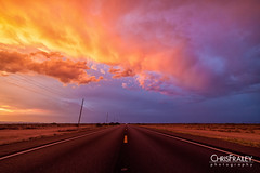 Sunset Highway (Chris Frailey) Tags: sunset red arizona sky southwest clouds highway desert perspective monsoon redsky vanishinglines highwayshot