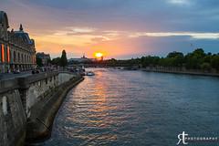 Paris sunset (noobographer) Tags: city bridge blue sunset vacation urban orange holiday paris france reflection love tourism water beautiful seine river french boat eiffeltower relaxing tourist calm romantic
