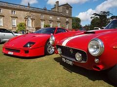 Ferrari F40 meets 250, Wilton House Supercars (Hammerhead27) Tags: show new old red classic car italian display pair ferrari gt supercar 250 wilton f40 swb 2014 wiltonhousesupercars