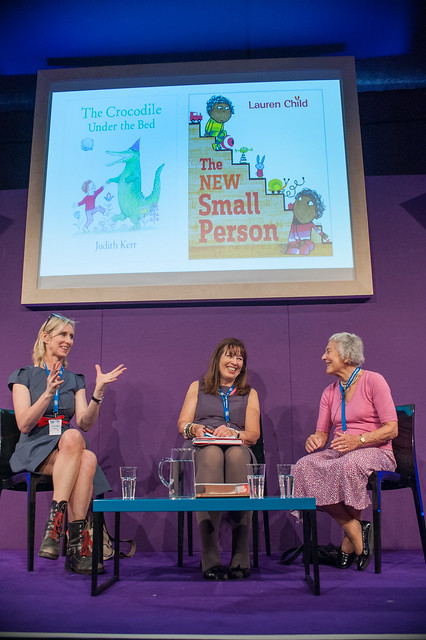 Lauren Child and Judith Kerr share the stage at the Edinburgh International Book Festival