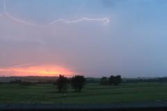 Lightning over Frinton Golf Club in Essex UK (as098_uk) Tags: sunset sea green beach grass club golf bolt lightning essex frinton golfclub frintononsea