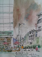 CAM04282 (ecobit) Tags: city building car watercolor sketch cafe drawing croquis urbansketch