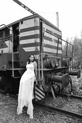 Honeymoon. (Azariel01) Tags: old newyork train pose bride blackwhite model honeymoon sandra belgium belgique belgie acting locomotive vieux charleroi monceau 2014 modèle manoeuvre nmbs lunedemiel mariée hainaut miseenscène sncb 7364