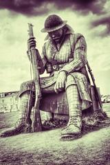 Tommy (NikkiNakkiNoo365) Tags: world county england sculpture statue soldier one war artist ray durham steel north tommy east british seafront seaham lonsdale corteen canon1100d thesculpturewhichistheworkoflocalartistraylonsdaleisalsointendedtorepresentposttraumaticstressdisorderwhichmanyofthereturningsoldiersendured stands9ft5installandweighs12tonnes thesculpturedepictsawearybritishtommyrifleinhandsittingdownwithhisheadbowedashereflectsonthewarmomentsafterpeacewasdeclared