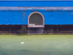 Green and Blue (Magic Pea) Tags: blue urban green window water photography canal photo minimal algae straight simple canalboat magicpea