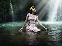 Hopefully (Nhoj Leunamme == Jhon Emmanuel) Tags: wood flowers flores water girl yellow mexico waterfall agua chica magic fineart amarillo bonita conceptual toluca vestido cascada