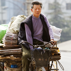 Recycling man on tricycle (Barry Zee) Tags: ecofriendly recyclingmanontricycle recycling man tricycle china