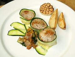 Pork Loin wrapped in Courgette, Wedges, Roasted Garlic (Tony Worrall Foto) Tags: uk england food make menu yummy nice dish photos tag cook tasty plate eaten things images x meat made pork eat foodporn add meal taste dishes cooked tasted grub iatethis foodie flavour plated foodpictures ingrediants picturesoffood photograff foodophile 2014tonyworrall
