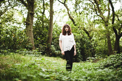 Jessie (Niall97) Tags: park trees portrait england woman tree green girl jessie female canon woodland scarlet person eos 50mm flora northwest bokeh band fast l 5d fullframe dslr sthelens markii f12 frontwoman