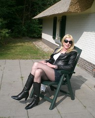 In the sun at last. (sabine57) Tags: drag tv highheels boots cd tights crossdressing tgirl transgender tranny transvestite miniskirt pantyhose crossdresser crossdress travestie transvestism