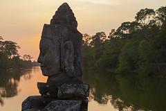 Spirit of Kmer Empire (yuriye) Tags: old bridge face statue stone evening cambodia khmer profile angkorwat had siemreap bayon yuriye thomreapsiem