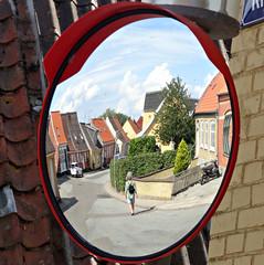 Mirror mom (Jaedde & Sis) Tags: marstal street mirror mor behind reflection round challengefactorywinner thechallengefactory storybookwinner
