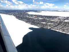 Madison's Isthmus at the Start of Thaw (ggppix) Tags: madison wisconsin danecounty isthmus statecapitol frozen lake monona mendota wingra ice snow water universityofwisconsin picnicpoint yahara river thaw landscape city clouds