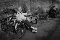 Taking a break along the canals (thefascinatingeveryday) Tags: angel canal london streetphotography peoplewatching thefascinatingeveryday monochrome blackandwhite bike