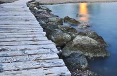 Wooden path (AviatorD90 ) Tags: wood longexposure light sea orange seascape blur color colour beach water stairs seaside blurry sand nikon rocks long exposure path cyprus nd aviator paphos pafos d90