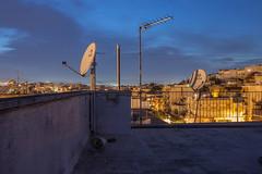 Rooftop night-shot #1 (Patsnik) Tags: city moon building rooftop nova up night wake nightshot athens neighborhood greece ladder antenna antennas