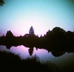 River Mirror I (liquidnight) Tags: trees sunset reflection nature water oregon analog mediumformat mirror evening landscapes still lomo lomography purple toycamera silhouettes surreal pacificnorthwest dreamy analogue vignetting pnw tranquil dreamscape riverfrontpark filmphotography willamettevalley pouva pouvastart stayton lomochrome lomochromepurple lomochromepurplexr100400