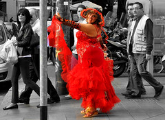 Red is the Color (Paulix Black) Tags: red woman public beautiful smiling fun big funny dress gown showin