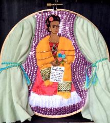 "Frida Kahlo ""Self Portrait (Dedicated to Leon Trotsky)"" Hoop Art (FridaDolls) Tags: folkart embroidery frida mexican trotsky fridakahlo dedicated sequins kahlo mexicanfolkart mexicanart ultrasuede recycledfabric hoopart folkartinspired fridaportrait fridaflowers fridayellowshawl fridatrotsky"