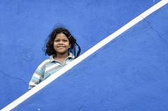 Blue Girl (Ravikanth K) Tags: travel blue girl smile lines stairs hair temple kid village stripes ngc line diagonal chennai murugan scattered cwc 500px chennaiweekendclickers valluvurkottam