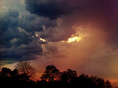 IMG_6102 and in a far distant sky rose a dark evil cloud... (pinktigger) Tags: trees sunset sky storm clouds landscape evening evil devi