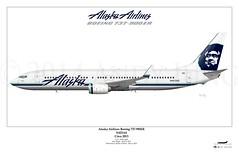 Alaska Airlines Boeing 737-990ER (N423AS) (Precision Airliner Art) Tags: alaska boeing 737 alaskaairlines 737900 andyjung 737990 precisionairlinerart 737990er n423as