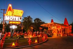 Dusk at Cozy Cone Motel (Domtabon) Tags: california cars cozy cone disneyland motel disney adventure pixar land dca rsr radiatorsprings carsland cozyconemotel mousewait radiatorspringracers