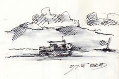 005 (sebastjancvelbar) Tags: sea white black art pen watercolor boat sketch croatia wave croquis pasman kornati