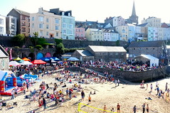 Tenby - Wales (Claire_Sambrook) Tags: flowers people colour beach wales architecture sand westwales tourists volleyball welsh pembrokeshire tenby granddesigns lifeboatstation visitwales