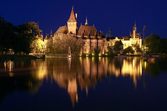 The Vajdahunyad castle in Budapest at night with the boating lake 2 (Romeodesign) Tags: park city lake castle ice water night reflections lights budapest boating rink burg vajdahunyad 550d