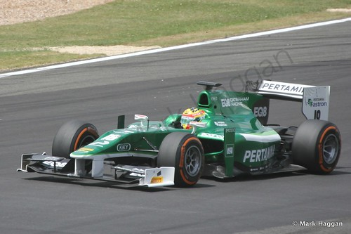 Rio Haryanto in his EQ8 Caterham car during GP2 practice at the 2014 British Grand Prix