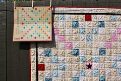 Grandma Hanna's Scrabble Quilt (Crazy Quilt Lena) Tags: pink blue red game star crazy quilt handmade board lena scrabble applique 2014 may25
