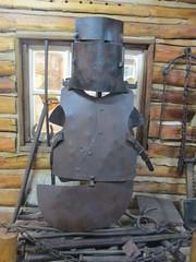 Replica of armour worn by outlaw Ned Kelly. (waykwabu) Tags: nedkelly armour outlaws glenrowan bushrangers nedkellysarmour glenrowanrailwaystation